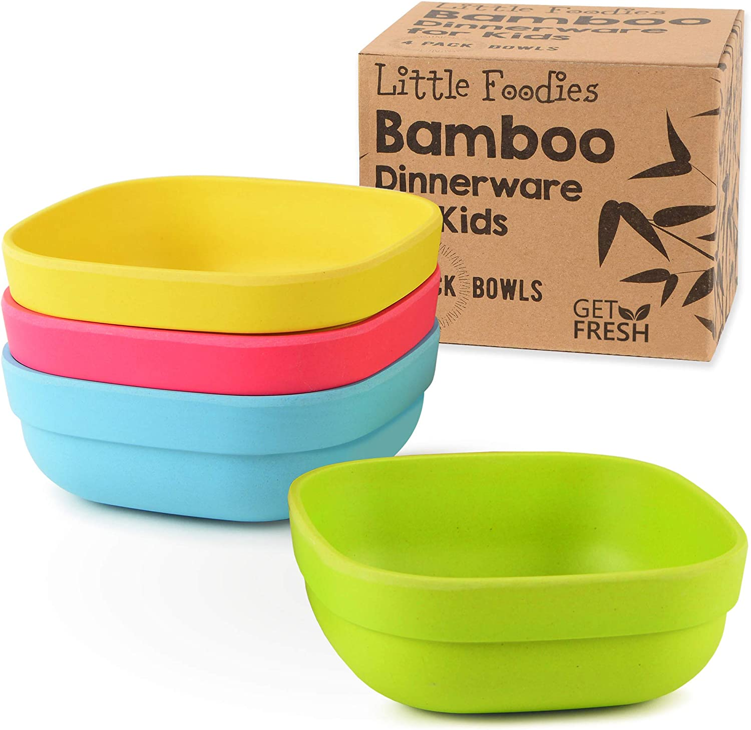 Bamboo Kids Bowls, 4 Pack Set, Stackable Bamboo Dinnerware for Kids, Bamboo Fiber Kids Bowls Set, BPA-Free, Dishwasher Safe and Stackable