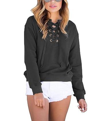 5b162e96eeb2c Women s Casual Lace up Sweatshirt Long Sleeve T Shirt Blouse Tops (S ...