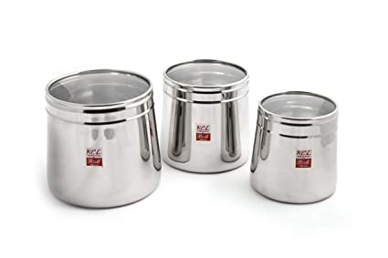 d0bd26e7d54 Buy KCL Stainless Steel Mirror Conical Deep Dabba Storage Box ...