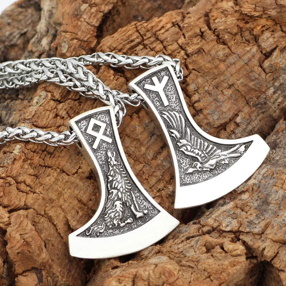 HLARK Collier Viking Amulette Hache Rune Loup Raven Pendentif Pa/ïen Bijoux Homme
