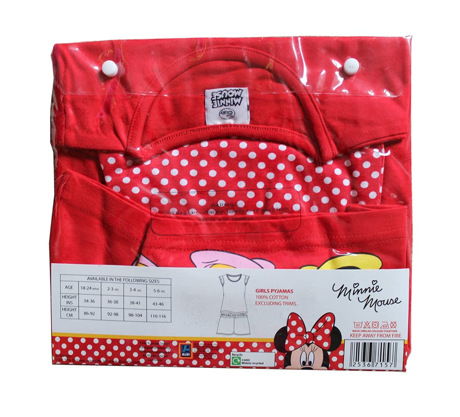 Amazon.com: Original Branded Disney Minnie Mouse Childrens Girls Character 18 Months to 6 Years Red Pyjamas Shirt & Shorts (2-3 YRS): Clothing