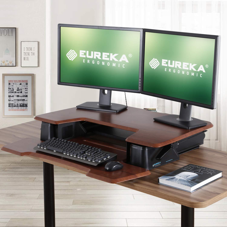 Eureka Ergonomic V1 Sit to Stand Desk Converter, 36 Height Adjustable Standing Desk Converters Desktop Stand Computer Workstation Home Office Computer Desk – Cherry