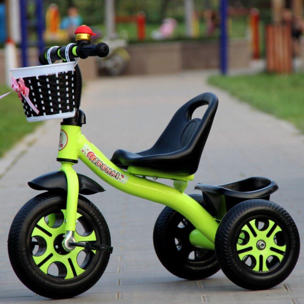 QXMEI Triciclo De Niños 1-3-2-6 Años De Edad Bebé Grande Empujar Bicicleta Cochecito De Bebé Juguetes De Bebé,GreenB
