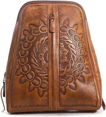 Womens Backpack Purse, Genuine Leather, hand-tooled crossbody bag, shoulder bag