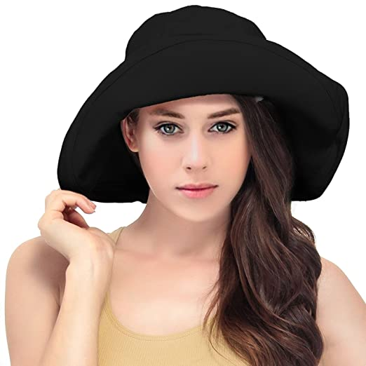 LRKC Women s Summer Cotton Bucket Beach Hat Foldable Sun Hat (Black ... d63127df46ed
