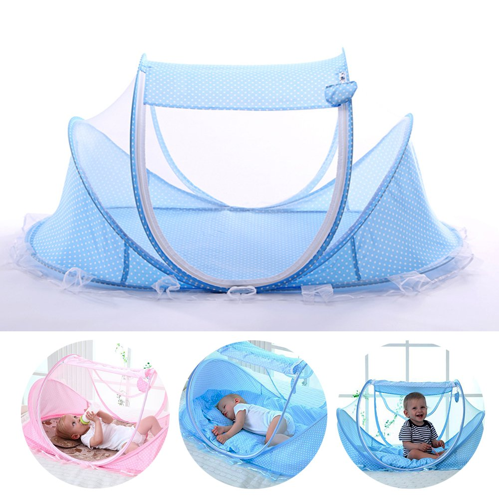 LUCKSTAR Baby Travel Bed - Fold Baby Bed Mosquito Net Netting Play Tent House for Baby/Kids (Blue)
