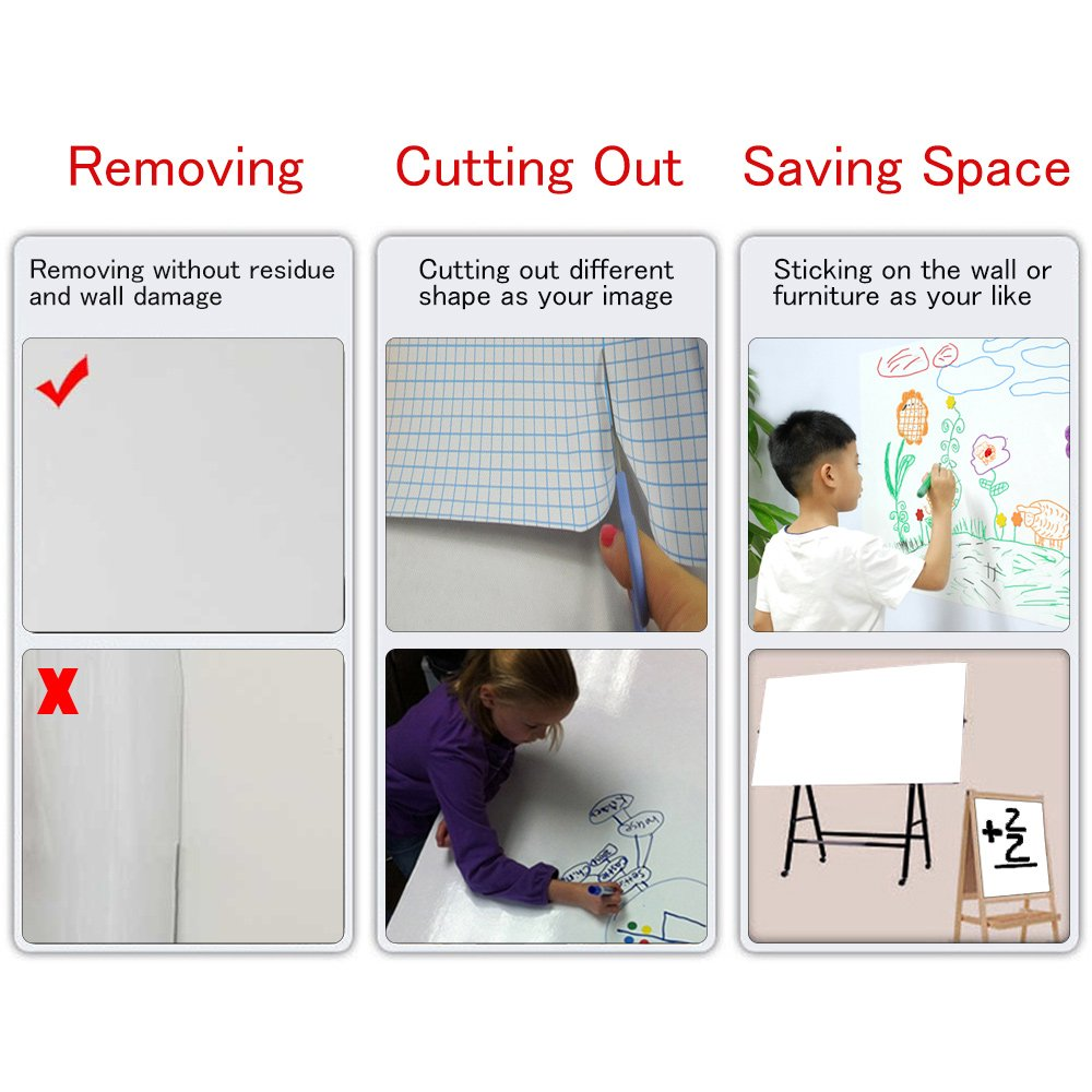 Whiteboard Sticker 17.5 by 118 inches Ninonly for School Office Home Self-Adhesive Dry Erase Wall Decal Wall Sticker Wall Paper for Kids Education & DIY Works Free 1 Water Pen (White) by Ninonly (Image #5)