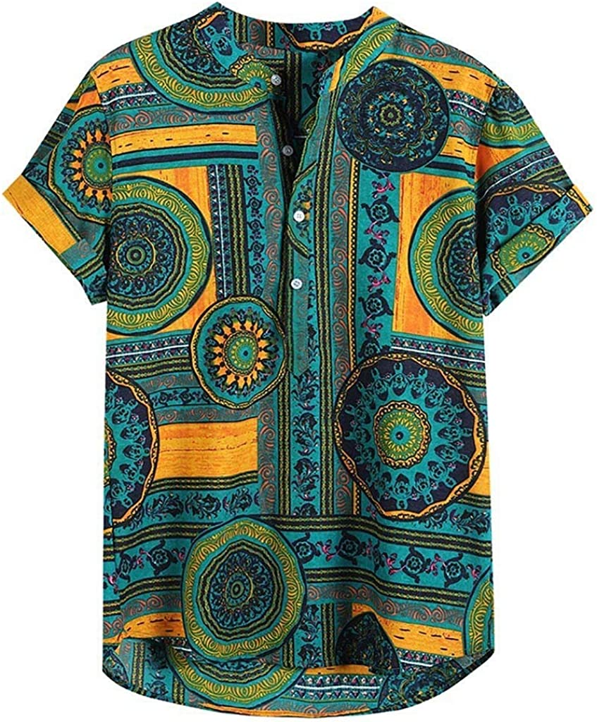 FEDULK Mens Linen Henley Shirt Casual Short Sleeve Pullover Plain Tees Retro Button Up Tshirts Beach Tops