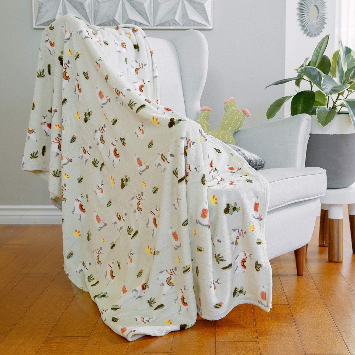 AVAFORT Velvet Plush Home Fleece Throw Blanket for Couch Sofa Bed,Warm Elegant Fuzzy Flannel Blanket for Kid Baby Adults or Pet,Lightweight Soft Cozy Warm Luxury Microfiber Blankets(Llama-Desert Sand)