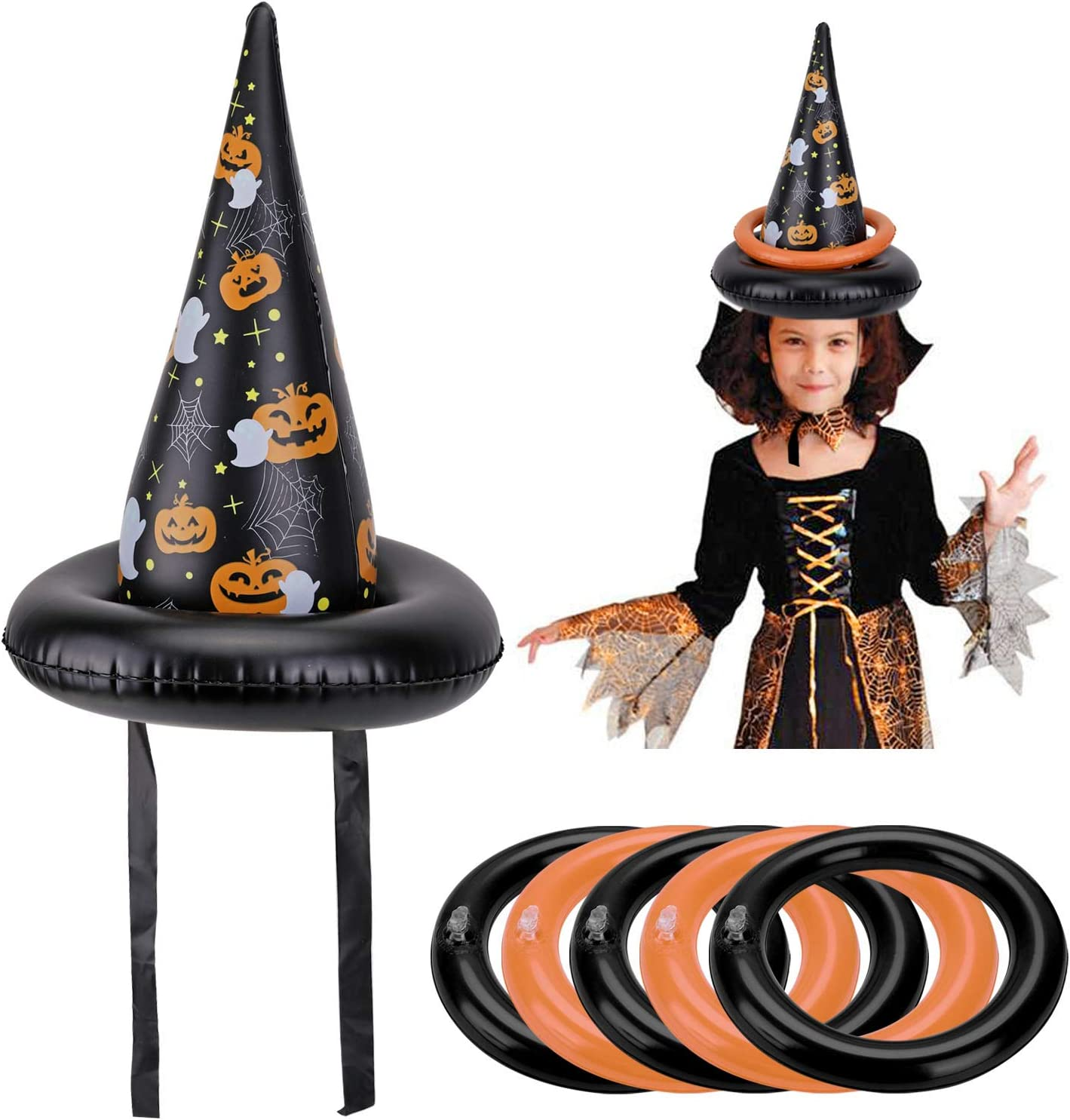 HOWAF Halloween Ring Toss Game 2pcs Inflatable Halloween Witch Hats Ring Toss Game Family Halloween Party Games for Kids Halloween Indoor Outdoor Game Garden Toys Kids Halloween Party Supplies