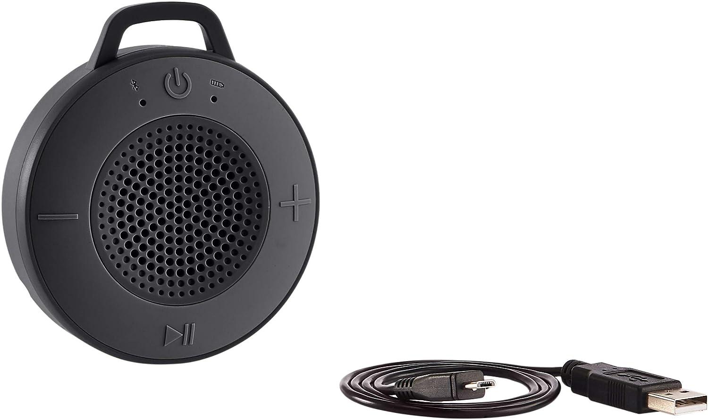 AmazonBasics - Altavoz inalámbrico para ducha, incluye ventosa y micrófono incorporado, de 5 W, negro