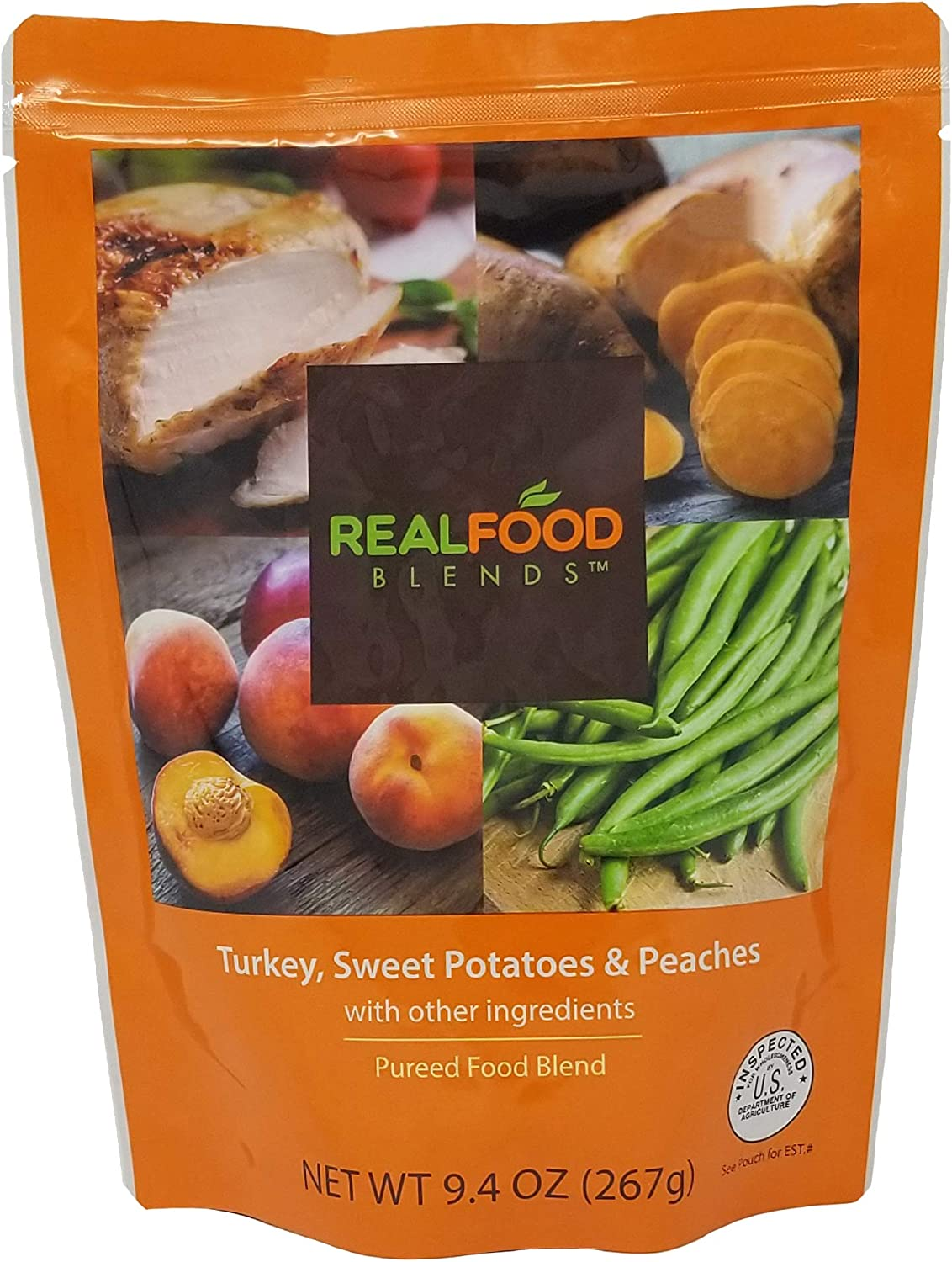 Real Food Blends Turkey, Sweet Potatoes & Peaches Pureed Blended Meal for Feeding Tubes, 9.4 oz Pouch (Pack of 12 Pouches)