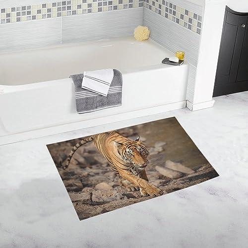 INTERESTPRINT Wildlife Tiger Animal House Decor Non Slip Bath Rug Mat Absorbent Bathroom Floor Mat Doormat Large Size 20 x 32 Inches