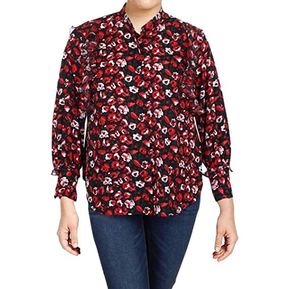 02e632d8 Amazon.com: LAUREN RALPH LAUREN Womens Plus Floral Print Ruffled Button-Down  Top: Clothing