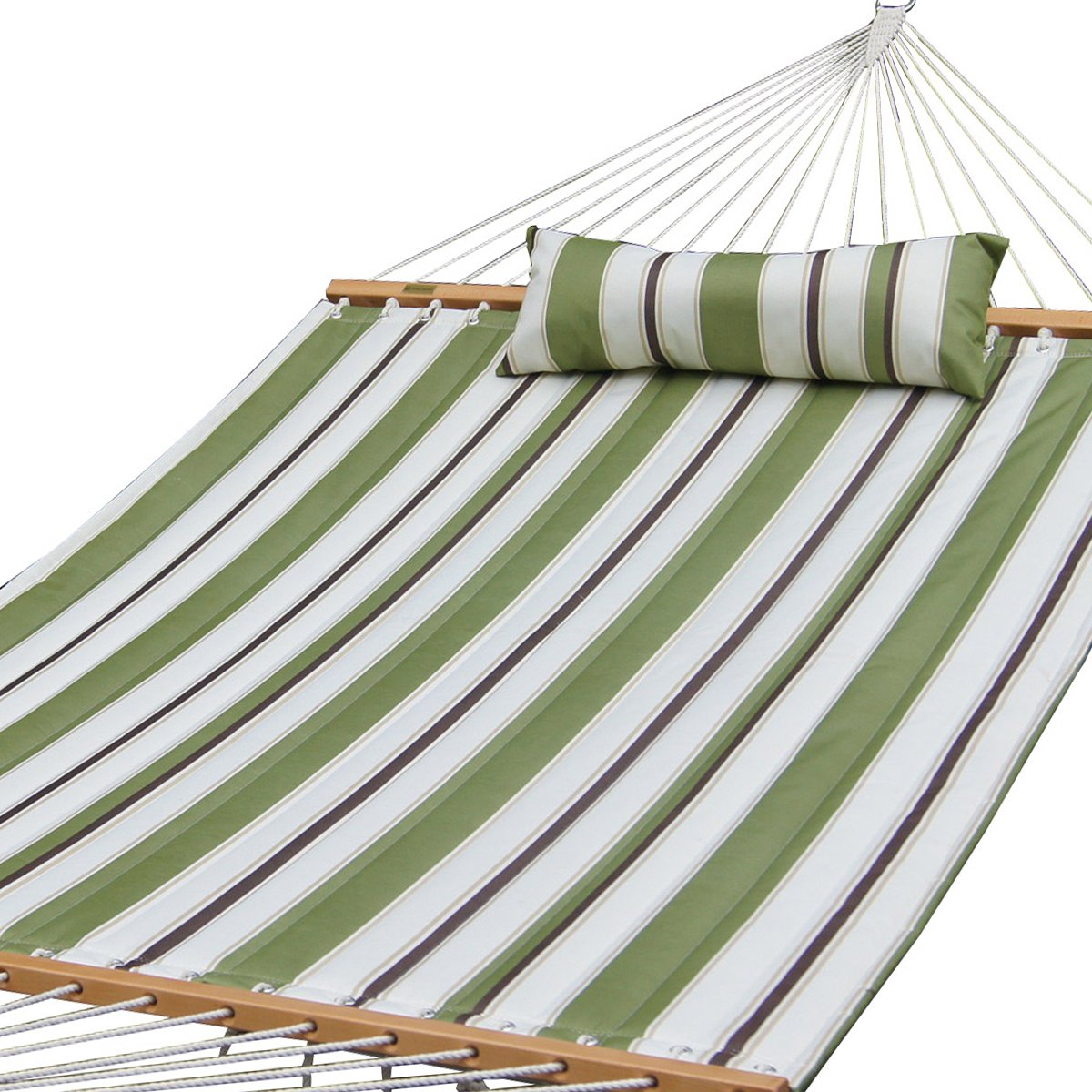 PG PRIME GARDENPrime Garden Quilted Fabric Hammock W/Pillow, Hardwood Spreader Bars, 2 People, Olive/White Stripe
