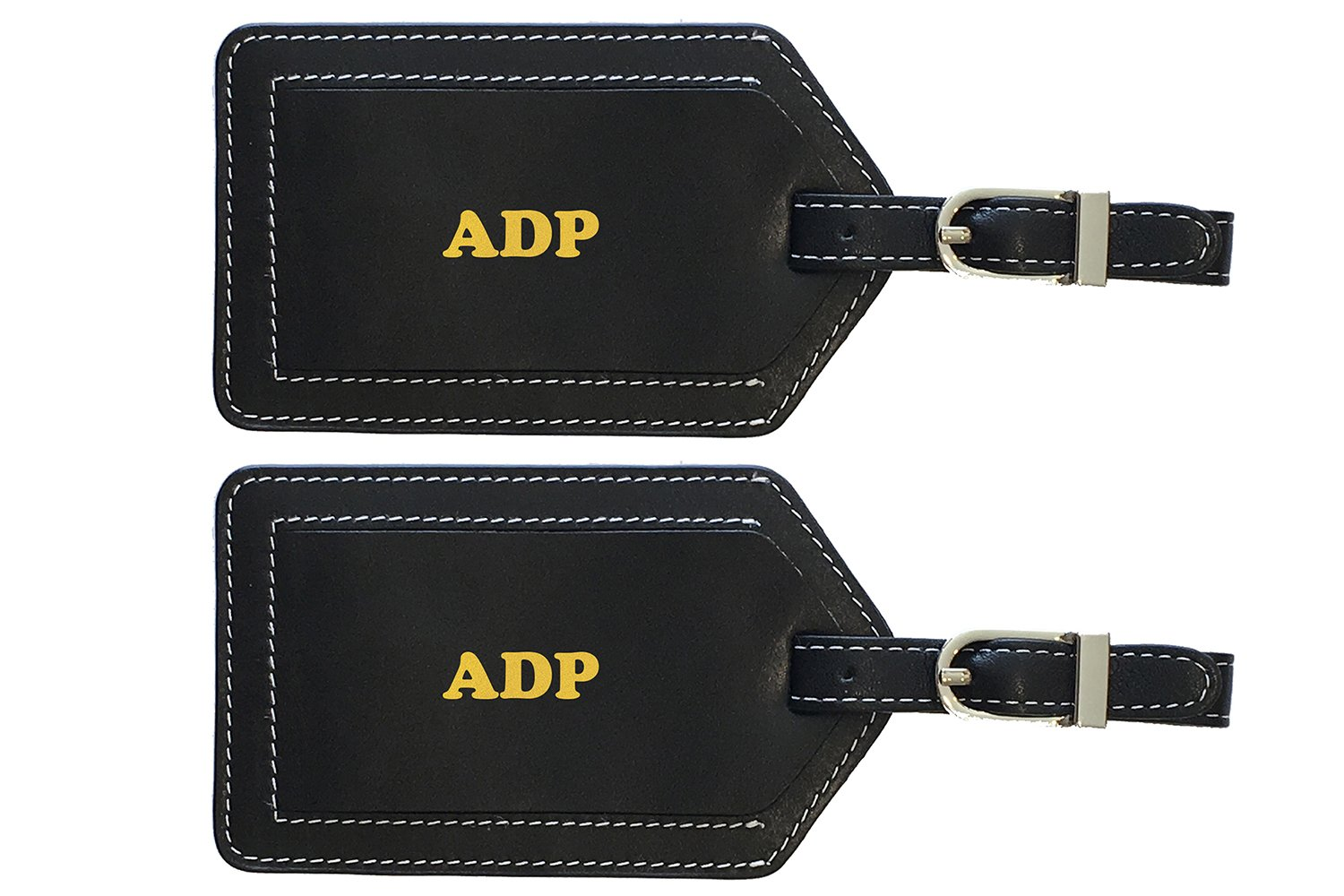 Personalized Monogrammed Black Leather Luggage Tags - 2 Pack