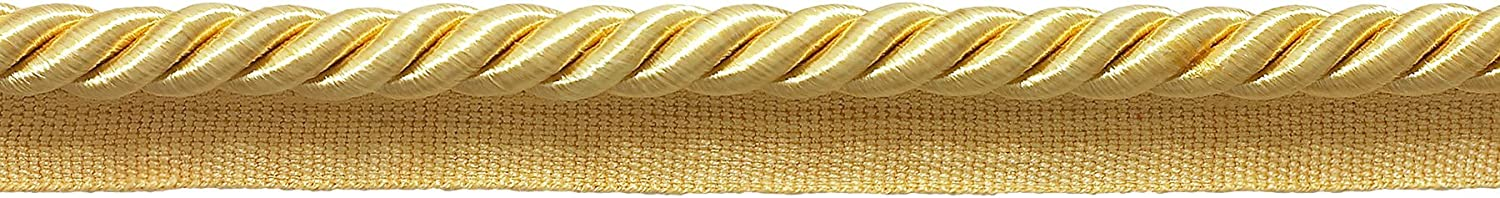 Package of 32.8 Yards D/ÉCOPRO Large Light Gold 3//8 Basic Trim Cord with Sewing Lip 98 Feet // 30 Meters Style# 0038S Color: B7