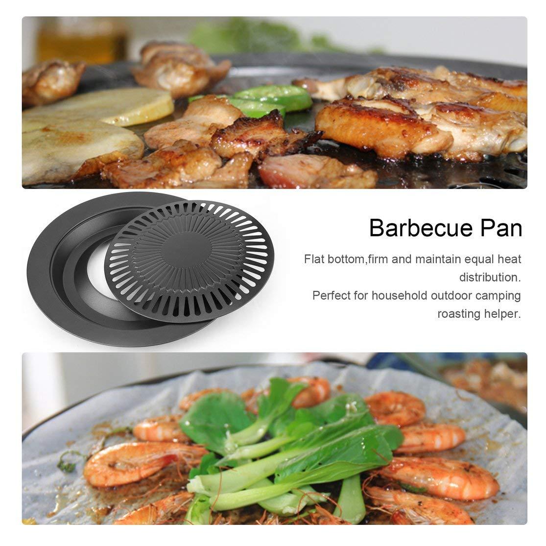 Kaemma Barbecue Rond Portable sans fum/ée en Forme de Gril avec Brosse antiadh/ésive Plateau de r/ôtissage Barbecue Cuisine BBQ Cuisson Outils Color:Black