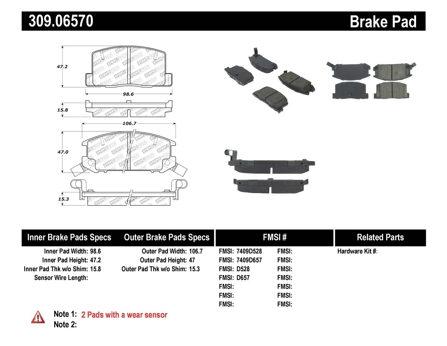 Amazon.com: StopTech 309.06570 Street Performance Rear Brake Pad: Automotive