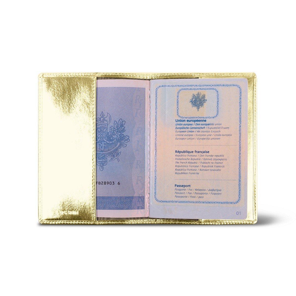 Prot/ège Passeport Etui en cuir pour Passeport Francais Cuir M/étallis/é Argent/é Lucrin