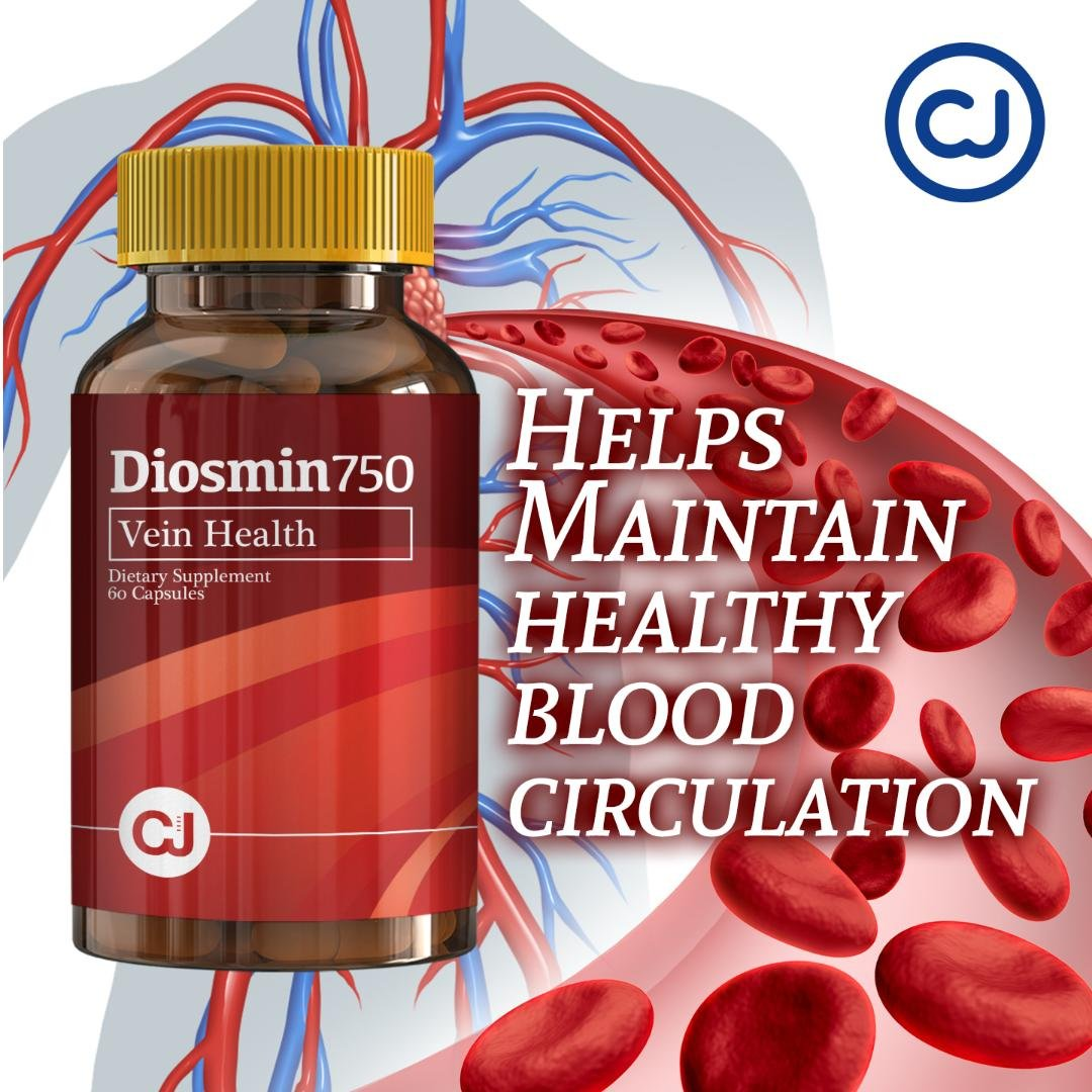 DIOSMIN 750mg Circulation and Vein Support (60 Capsules Bottle) Pure Diosmin not Mixes.