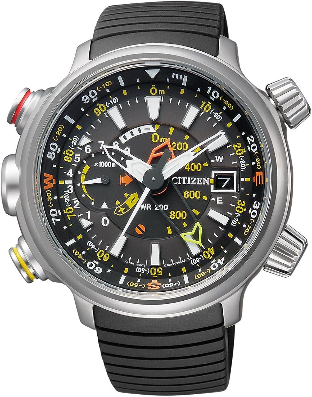 Citizen Promaster Land - Altichron - Reloj de Cuarzo para Hombre, con Correa de Goma, Color Negro