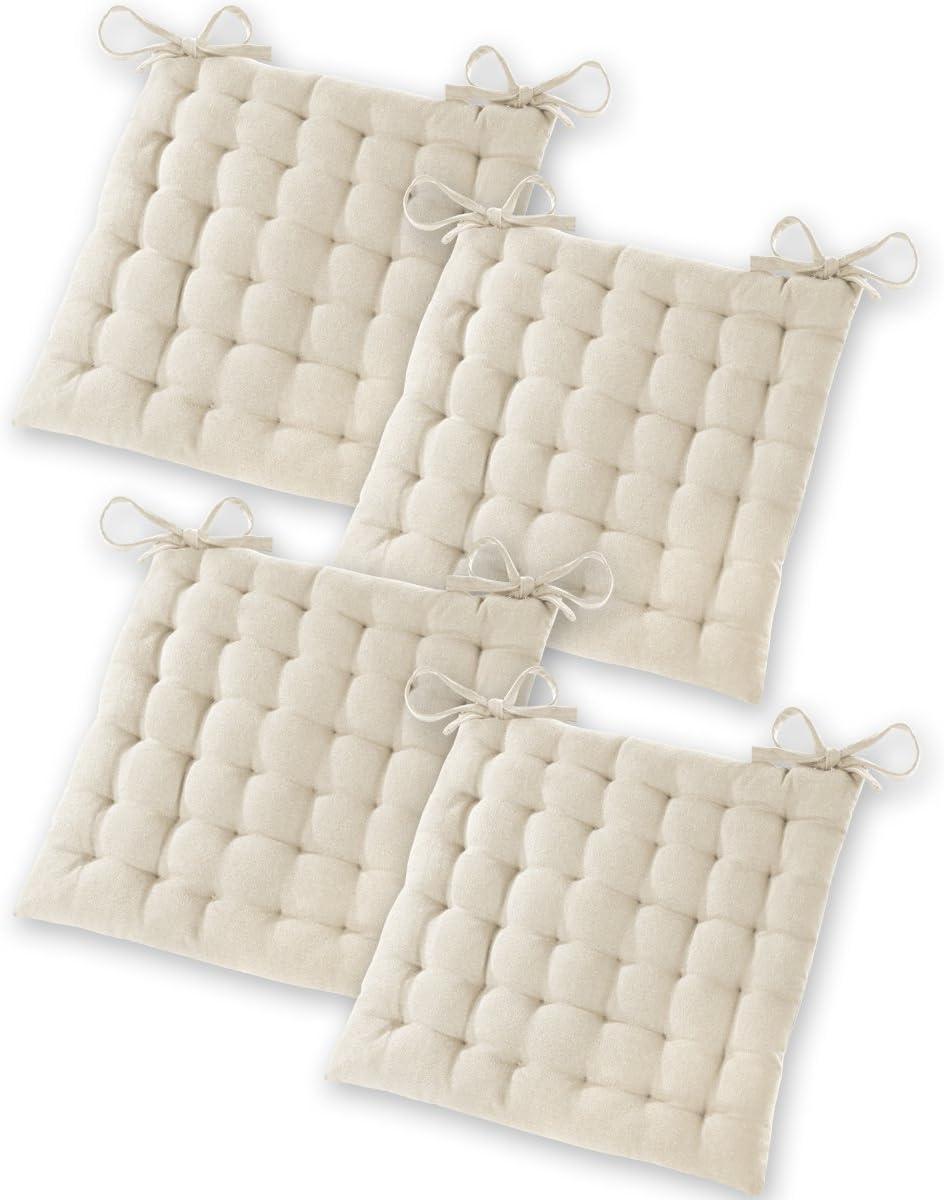 Gräfenstayn® Set de 4 Cojines, Cojines para Silla de 40 x 40 x 5 cm para Interior y Exterior de 100% algodón Acolchado Grueso/cojín para el Suelo (Crema)