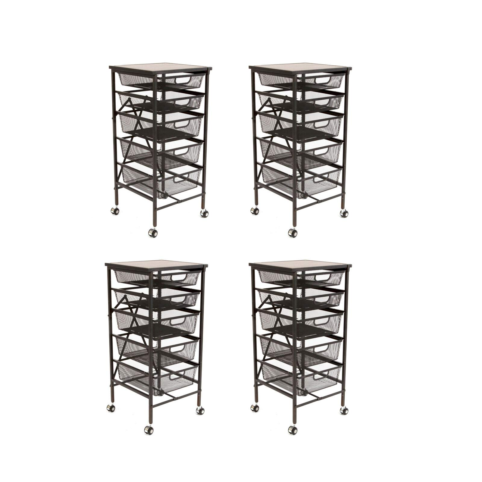 NanaPluz (4 Pack) Black 34'' Rolling Wheeled 5-Tier Steel Foldable Drawer Caddy Cart Storage Rack Cabinet Organizer w/Wooden Top with Ebook
