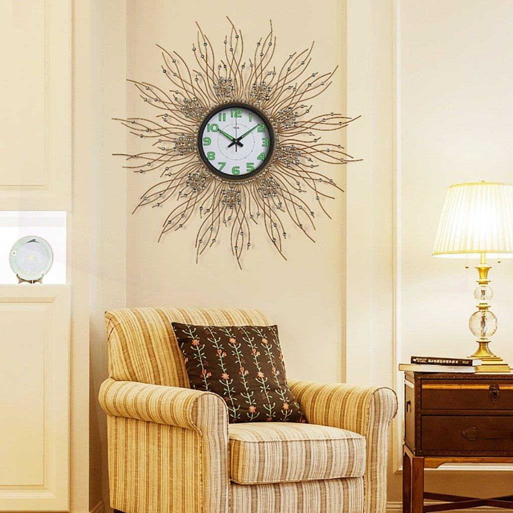 ALUP大きなラウンドミュート壁のトリムの装飾ヨーロッパスタイルのレトロ贅沢なクリエイティブな近代的なミニマリストアートのベッドルームリビングルームの研究の壁時計 (色 : B) B07F24W52GB