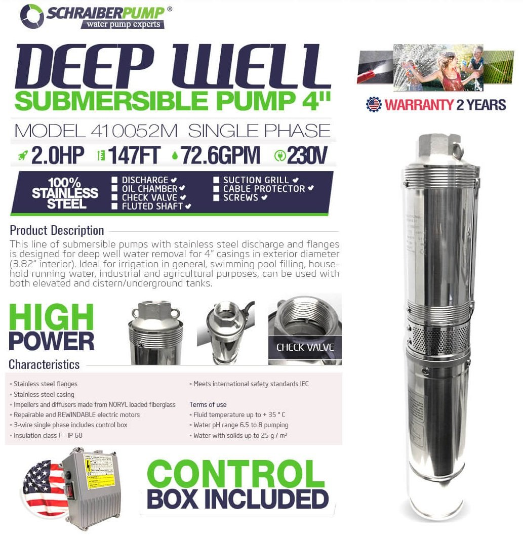 SCHRAIBERPUMP 4'' SUBMERSIBLE DEEP WELL PUMP 2HP 230v 147FT 73GPM w/control box 2 Year WARRANTY - STAINLESS STEEL DISCHARGE, CHECK VALVE AND FLANGES