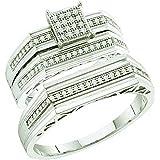 0.25 Carat (ctw) 10k White Gold White Diamond Men And Women's Micro Pave Engagement Ring Bridal Trio Set