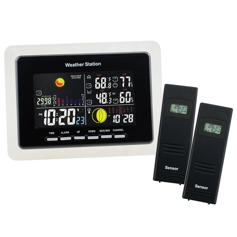 Station Météo Numérique Sans Fil avec Horloge Radio Control DCF Thermomètre Extérieure Intérieur avec Rétroéclairage LED, 8 Températures Moonphase Horloges de Surveillance Extérieur-Int&
