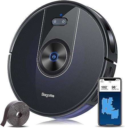 Bagotte BG800 Robot Aspirador, mapeo de conexión Wi-Fi, succión 2200Pa, control de Alexa y apli...