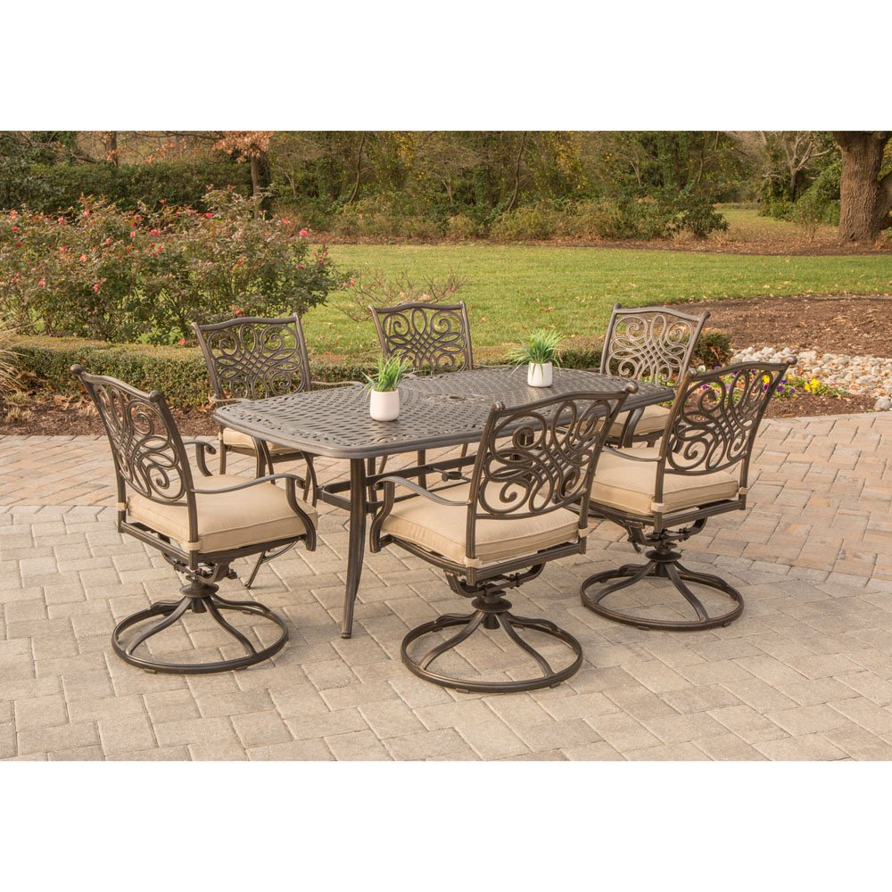 Amazon com hanover traditions7pcsw 6 traditions 7 piece dining set with six swivel chairs a large 72 x 38 table outdoor furniture bronze frame tan