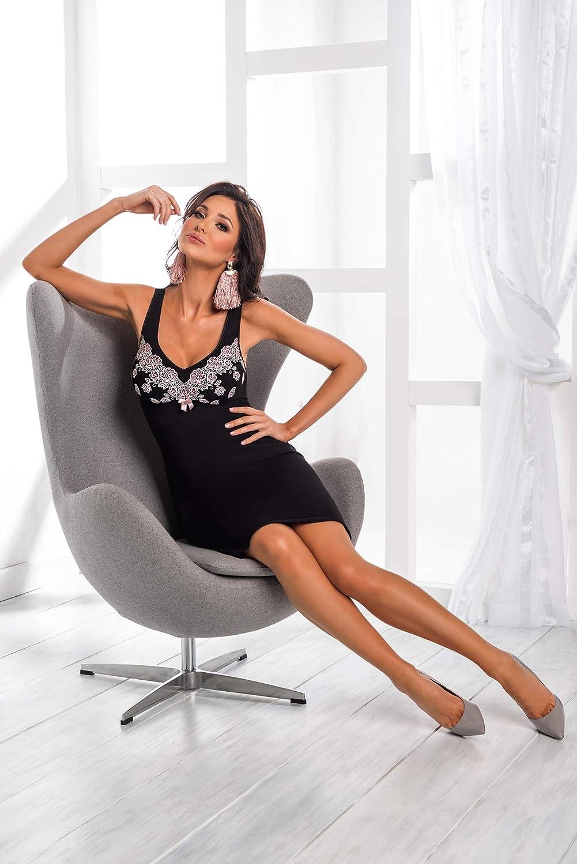 fabricado en la UE Camis/ón de noche seductor 38 Selente Sweet Dreams con detalles de encaje delicados y venda de sat/én adicional exclusiva Soporte negro y rosa