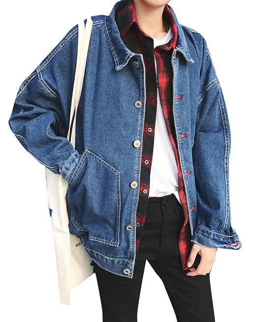 Chaquetas de Mezclilla para Hombre Manga Larga Suelto Denim Jacket Chaqueta Vaquera: Amazon.es: Ropa y accesorios