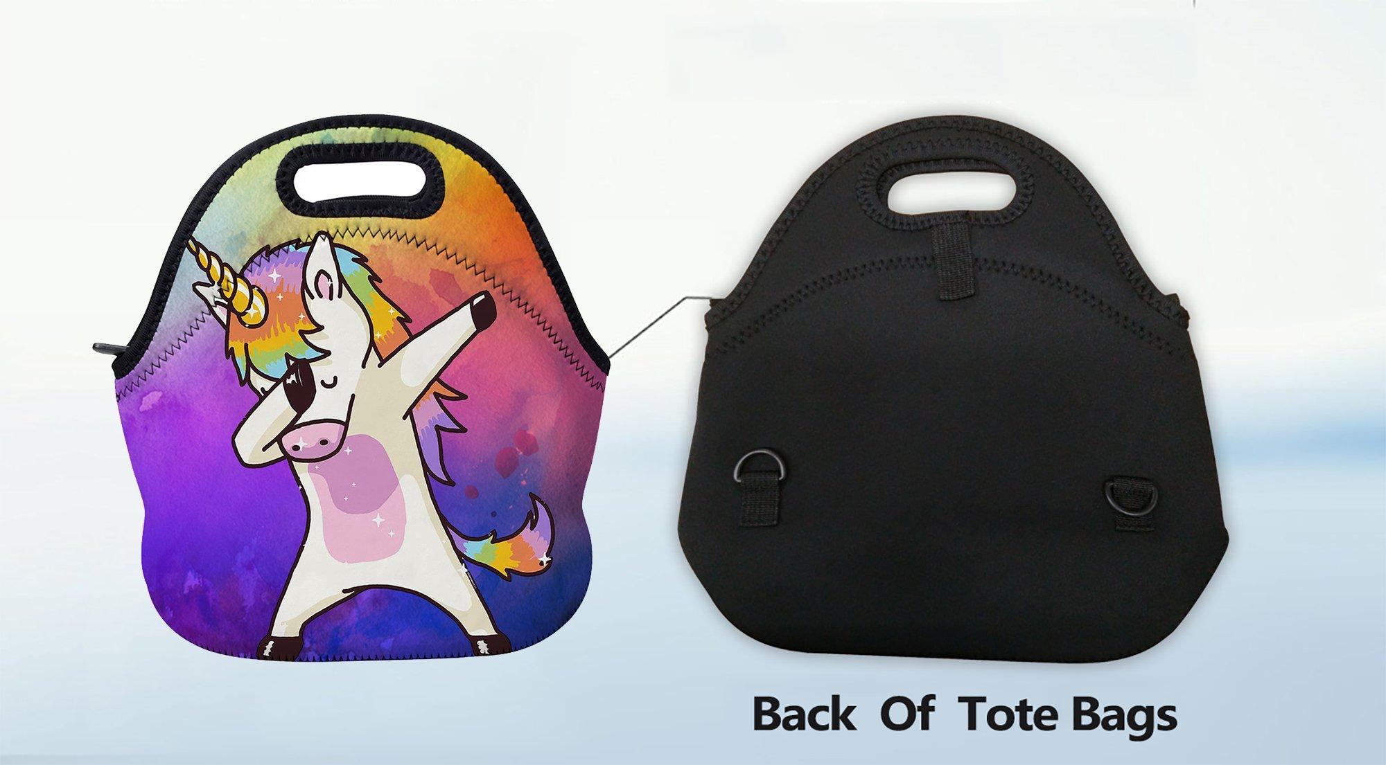 AOTIGO Dab Unicorn Rainbow Lunch Bag Insulated Neoprene Lunch Box Waterproof Tote Bag with Zipper for Kids, Boys, Girls… 8