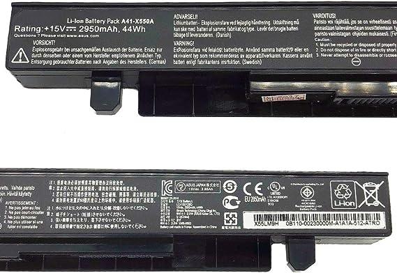 A41-X550A Batería para ASUS X550CA X550LB A450 A550 F450 F550 F550C F550L F552 F552C F552CL K550 K550C X450 X552 X552EA FX50JK F550C R510CA X550V Ordenador [A+++ 4 Celdas, 2950mAh 15V]-1 año Garantía: