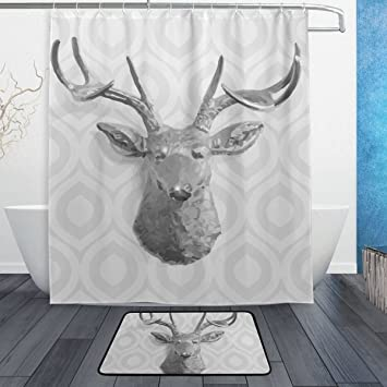 BAIHUISHOP Gray Deer PatternMachine Washable For Everyday Use,Includes  60x72 Inch Waterproof Shower Curtain,