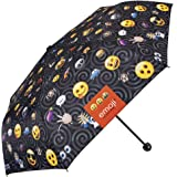Paraguas Plegable, con Estampado de Emoji, la icónica Marca de emoticones Oficiales de Whatsapp - Paraguas Mini Perletti Negro, pequeño y Ligero, para el Bolso o la Mochila - Apertura Manual
