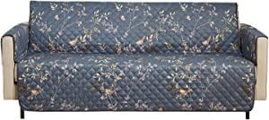 Wake In Cloud - Sofa Cover 100% Waterproof Non-Slip, Pets Dogs Cats Kids Furniture Protector 3 Cushion Couch Slip Cover, Elastic Strap, Dark Gray Grey Birds Floral Leaves (70
