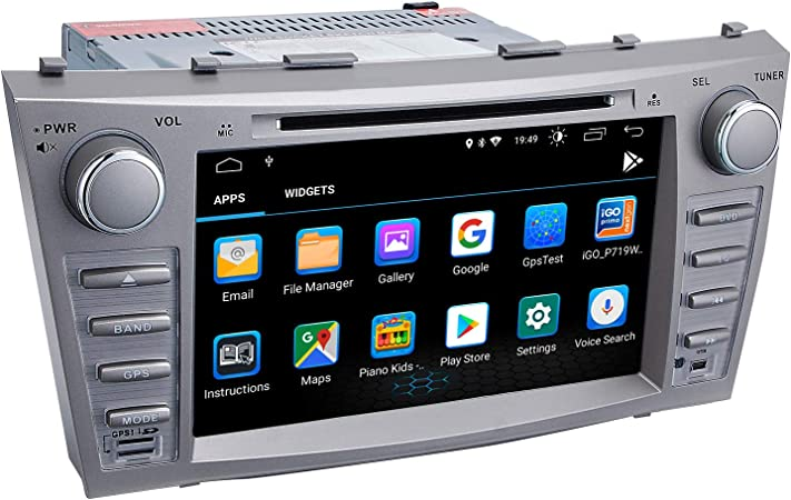 Camry Car Stereo DVD Player-Double Din in-Dash, Multimedia Receiver with Touchscreen, Built-in Bluetooth, MP3 Player, GPS Navigation, SD, AUX Input, Radio Receiver Android 9.0