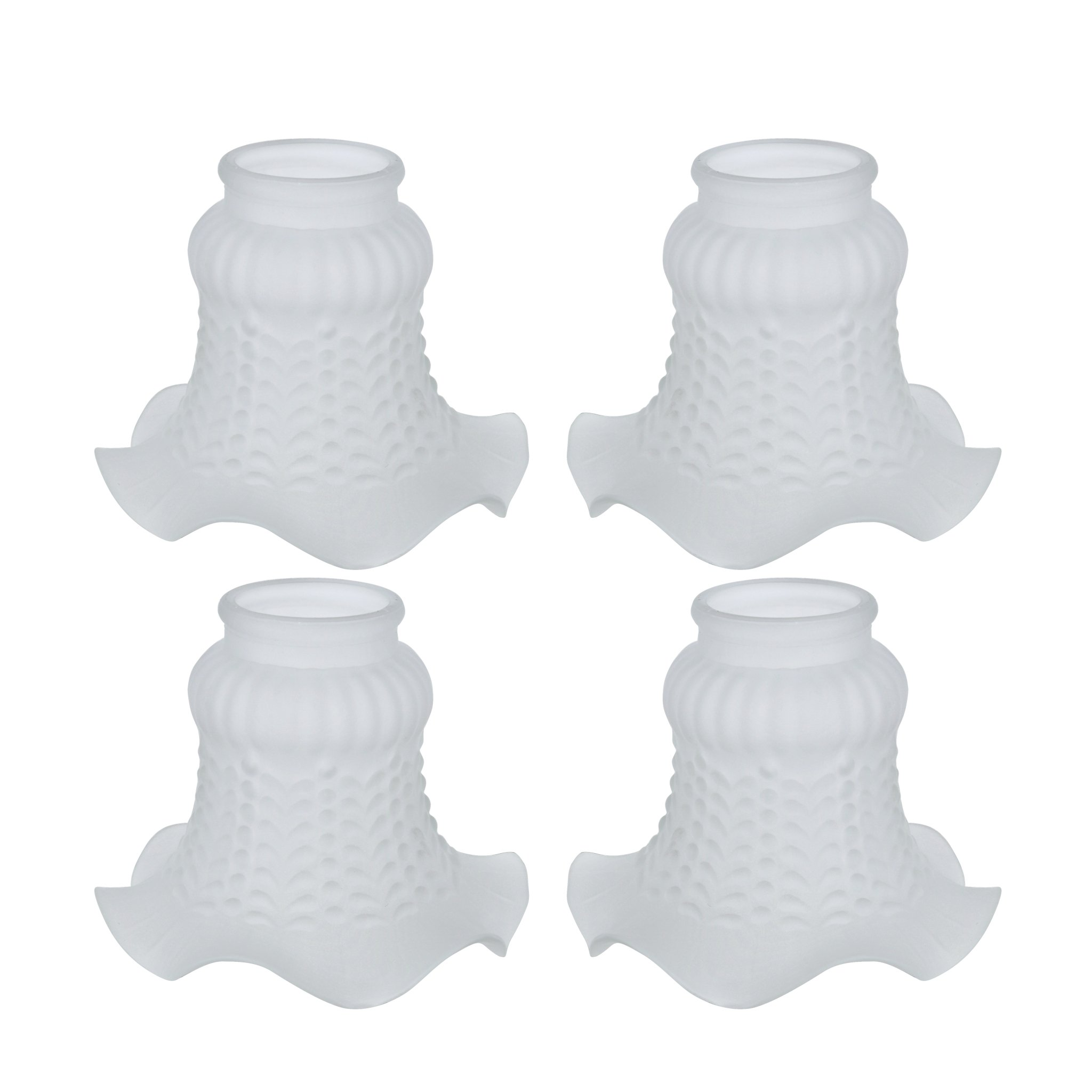 Aspen Creative 23021-4 Transitional Style Replacement Floral Shaped Frosted Glass Shade, 2'' Fitter Size, 4 1/8'' high x 4 3/4'' Diameter, 4 Pack