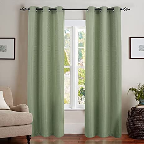 Waffle Weave Textured Window Curtains For Living Room Privacy Curtain  Panels For Bedroom (84