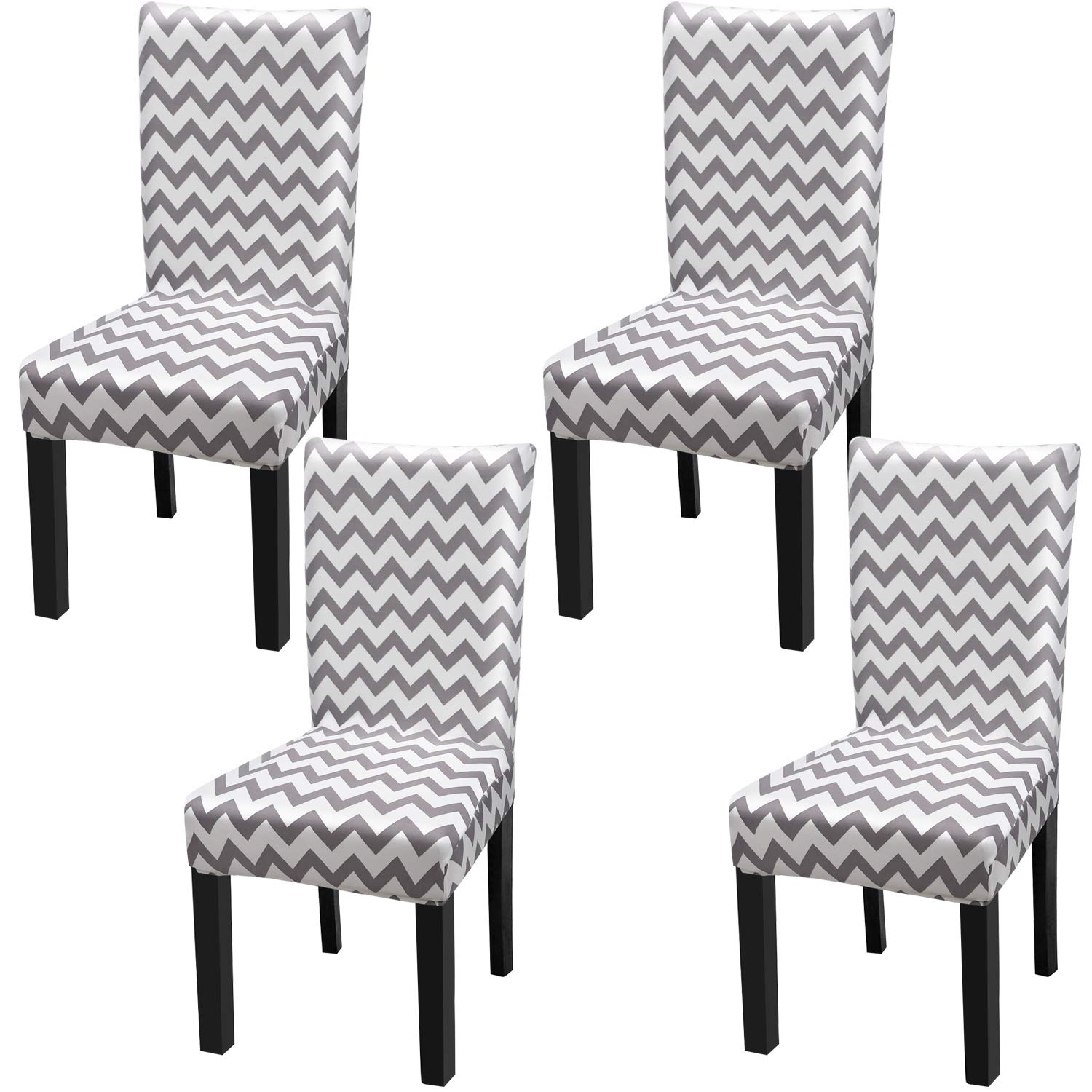 Fuloon Super Fit Stretch Jacquard Removable Washable Short Dining Chair Covers Seat Slipcover for Hotel,Dining Room,Ceremony,Banquet Wedding Party (4, WY)