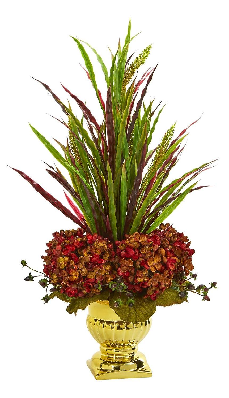 造花 – 草とアジサイ 錆びたアレンジメント 金骨壺 B07KV4PNWT
