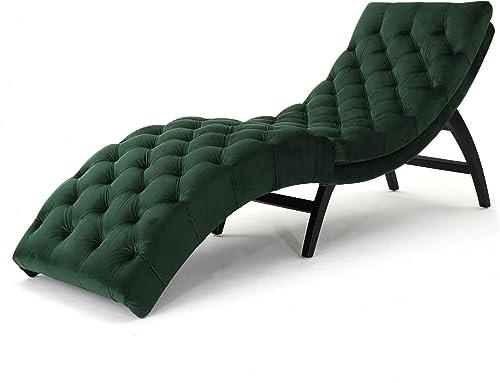 Christopher Knight Home Garret Tufted Velvet Chaise Lounge, Emerald Dark Brown