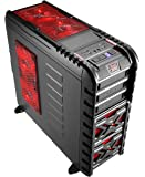 Aerocool Strike X GT Devil - Caja de ordenador de sobremesa (ATX, 3 x USB 2.0, 1 x USB 3.0, incluye 2 ventiladores), negro y rojo