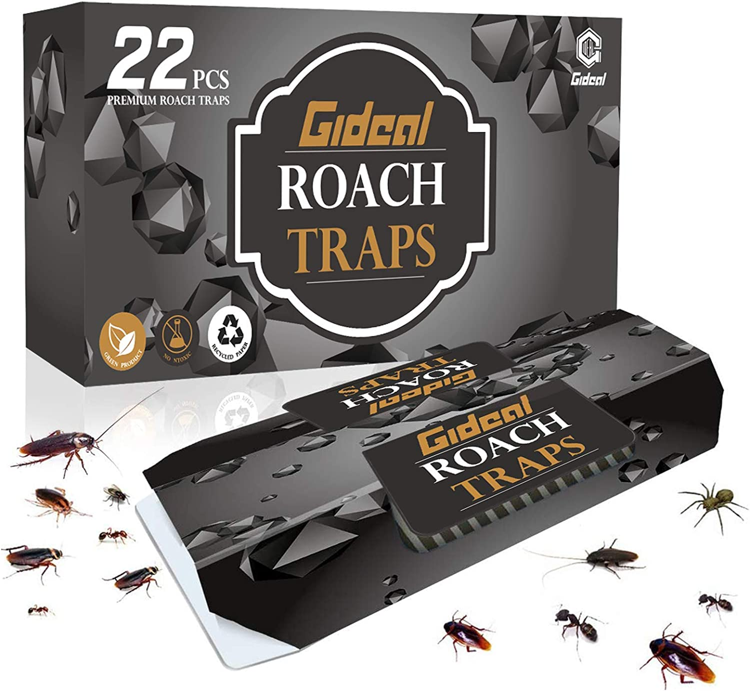 Gideal 22 Pack Cockroach Traps with Bait, Sticky Paper Premium Glue Trap | Eco-Friendly | Spiders Ants Roach Killer (22 Pack)