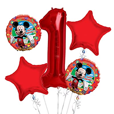 Mickey Mouse Balloon Bouquet 1st Birthday 5 pcs - Party Supplies: Toys & Games [5Bkhe1201226]